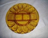 Vintage Amber Glass Deviled Egg Relish Plate Platter