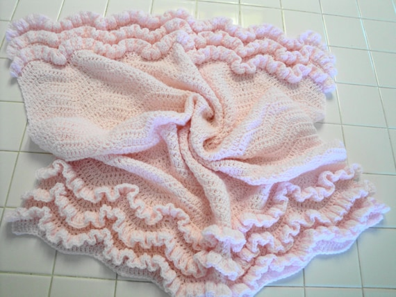 Crochet Baby blanket with ruffles pink sport weight yarn