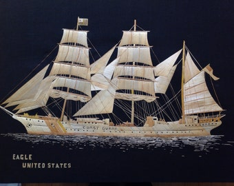 US Coast Guard tall ship EAGLE Handmade with rice leaves. Ancient leaf art collectible.  U S Coast Guard vessel  collectible art