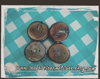 Handmade Wood buttons (reclaimed wood)- 5/8 inch brown button