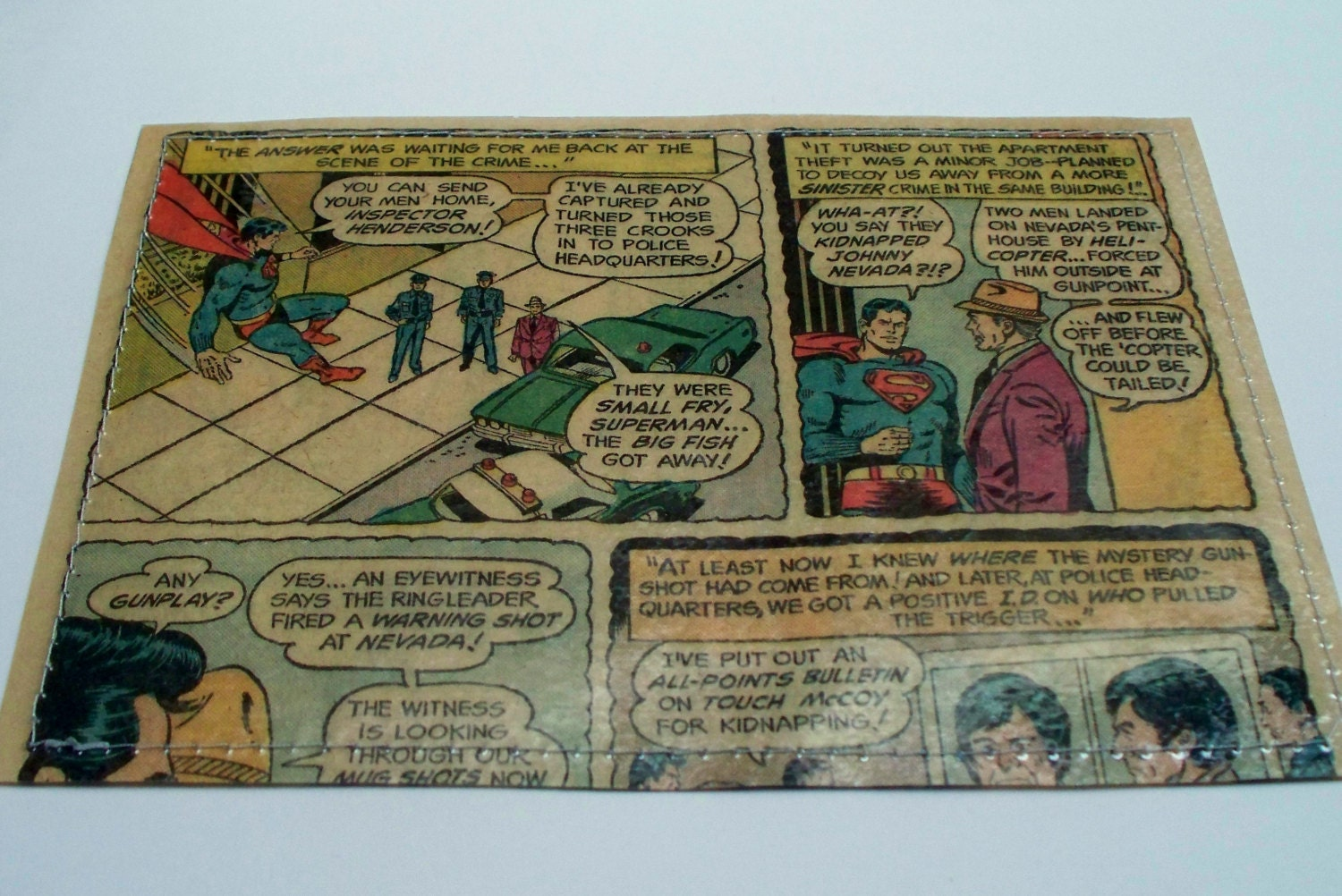 mini wallet UPCYCLED Superman vintage comic book page RECYCLED ...