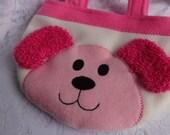 Puppy Purse, Pink Puppy Bag, Toddler Girl Children Purse, Animal Fleece Purse, Bag, Child Animal Purse, Animal Bag, Girls Purse