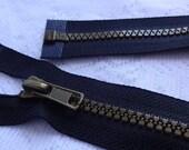 "30"" Black Molded Plastic Separating Zipper, 30 inch Jacket Zipper, Black Zipper, Sports Coat Zipper"