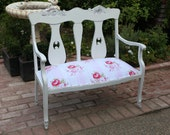 Gorgeous Shabby Floral White Bench or Settee - vintage chic