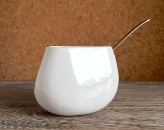 Freeman Lederman Kenji Fujita for Lagardo Tackett Japan Porcelain Sugar Bowl or Honey Pot - Rare 1950s Modernism - MCM Pottery
