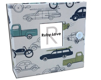 BABY BOOK | Green and Blue Vintage Cars Baby Book - Boy Baby Memory Book