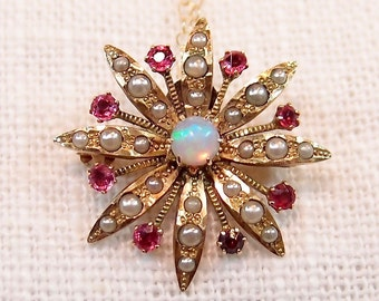 Victorian 10k Gold Opal and Ruby Starburst Pendant Necklace and Brooch