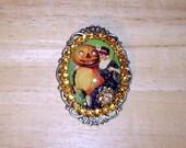 SALE! Vintage Halloween Glitter Art Bubble Cameo Pin Brooch Pendant OOAK