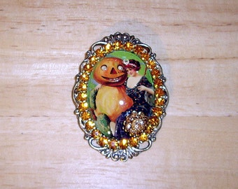 Halloween Pumpkin Man & Lady Swarovski Crystals With Glitter Art Bubble Cameo Pin Brooch Pendant Signed C Erbsland