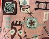 Kaufman Boomerang Beat 100% cotton bark cloth fabric yardage taupe aqua brown pink black tiki print