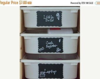 On SALE- Scallop Rectangle Chalkboard Labels- 12