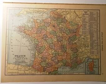 Vintage Map of France 1928