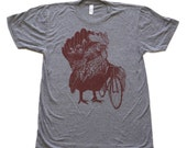 Mens Chicken Bicycle T-Shirt Rooster Farm Shirt - Unisex Tri Grey American Apparel T Shirt