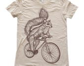 Womens SQUIRREL T Shirt on Bicycle Fine Jersey Creme Tee American Apparel