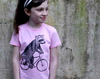 Raccoon on a Bicycle - Kids T Shirt, Children Tee, Tri Blend Tee, Handmade graphic tee, sizes 2-12