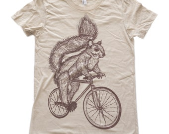 Squirrel on a bicycle - Womens T Shirt, Ladies Tee, Tri Blend Tee, Handmade graphic tee, sizes s-xL