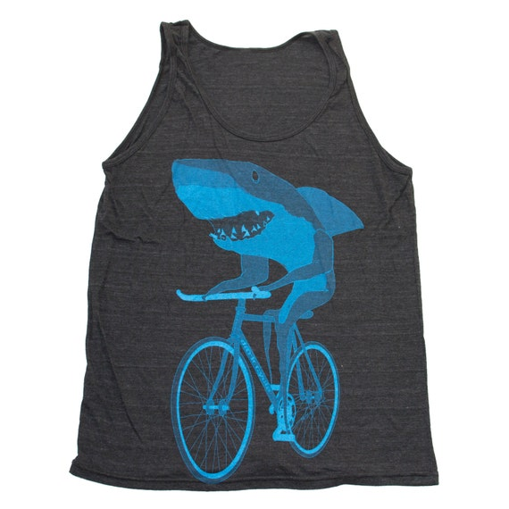 SHARK on a Bicycle - Tri Black Charcoal - American Apparel Unisex TANK top