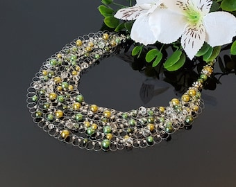 Clothing Gift Women Green Pearl Necklace Women Bridesmaid Necklace Multi strand Necklace Bridesmaid gift Idea Crochet Necklace Beauty Gift