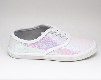 Tiny Sequin | CVO Crystal White Iris Sneakers Tennis Shoes