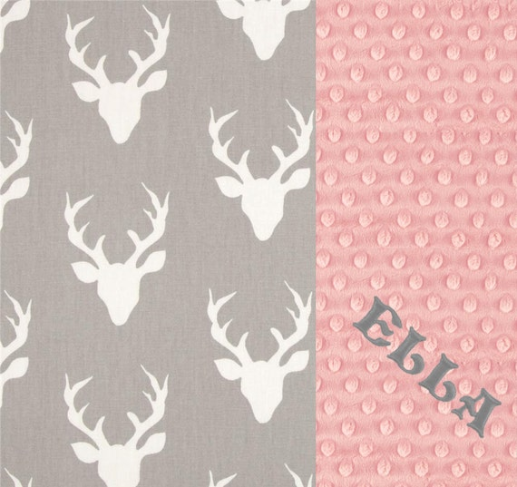 Personalized Minky Baby Blanket Girl, Deer Animals Pink Gray Cotton Blanket / Pink Deer Blanket / Baby Shower Gift / Name Baby Blanket