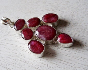 35% OFF Ruby Silver Plated Pendant