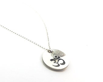 Om Necklace - Sterling Silver Om necklace - Yoga necklace - Domed Om Necklace - Spiritual Necklace - Gift for Yogi - Om Pendant  - Om Charm