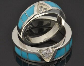 Turquoise Wedding Ring Set With White Sapphires, Turquoise Wedding Bands, Matching Turquoise Wedding Rings, Turquoise Ring Set