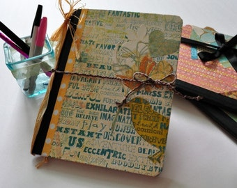 Hand decorated altered notebook, journal, travel journal, inspirational journal