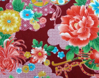 2666C- Sale - Georgeous Floral Fabric in Dk. Red, Cotton Twill Fabric, Fabric Width 90 cms x 148 cms, Flower Blossom Fabric