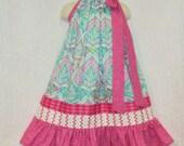 Girls 5/6 Pink Aqua Floral Design Handmade Boutique Pillowcase Dress Pillow Case Dress Sundress
