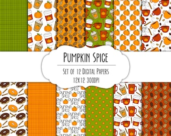 Pumpkin Spice Hand Drawn Digital Paper - Set of 12 - Coffee Mugs, Latte, Pumpkins, Donuts - Instant Download - Item #8284