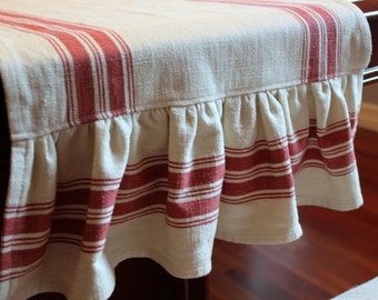 Ruffled Striped Cotton Toweling Table Runner - Oyster and Scarlet