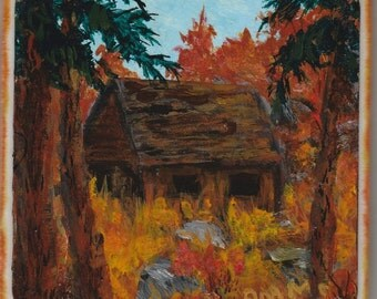 Autumn Old Wood Cabin Tile Drink Coaster Painting Rocks Grasses Off the Beaten Path Rust Red Orange Gold 4.25x4.25 One of a Kind Gift Idea