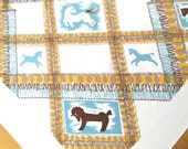 Vintage Tablecloth Horses Ponies Abstract Plaid Pattern Old West Square Table Cloth