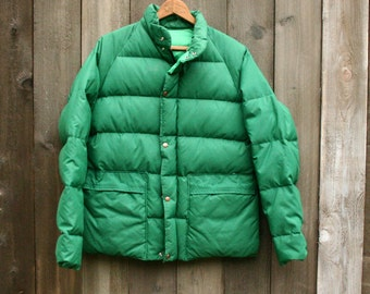 Vintage Goose Down Coat Kelly Green Womens Coat Medium Mens Small Vintage From Nowvintage on Etsy