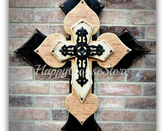 Wall CROSS - Wood Cross - X-Large - Antiqued Black, Religious wording, Antiqued Beige, with large black iron cross