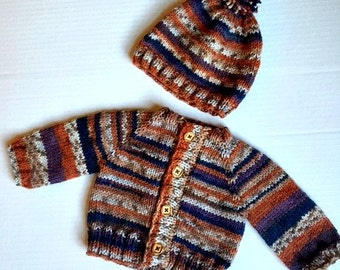 Sweater Hat Set Boy or Girl Norwegian Style Baby 0 1 2 3 month Multi Color river rocks colors soft wool acrylic blend for baby boy toddler