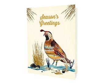 Dolan Quail Folded Holiday Cards, Box of 10 - A Collaboration with Mixed Media Artist Dolan Geiman - Season's Greetings - OC1181 -BX