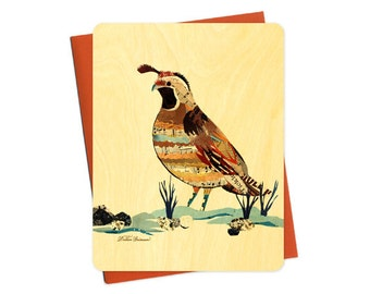 Dolan Quail Wood Notecard -  A Collaboration with Mixed Media Artist Dolan Geiman - Real Birch Wood Card - WC371