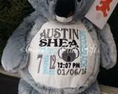 personalized baby gift, stuffed plush Koala Bear with name stuffed animal, koala, keepsake custom embroidery design, best baby gift ever