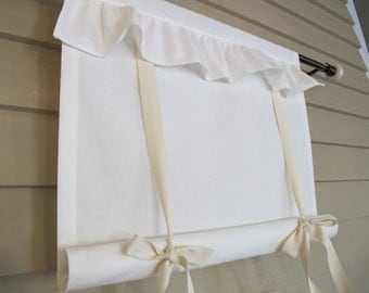 Ruffled Off White Canvas 72 Inch Long Tie Up Shade Custom Made to Order Tie Up Curtain Swag Balloon