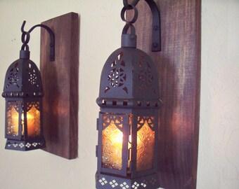 Amber glass Moroccan lanterns wall decor (2), wall sconces, housewarming gift, bathroom decor, wrought iron hook, rustic wood boards