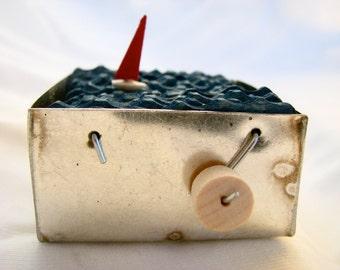 nautical kinetic sailboat automaton, wood boat sculpture, nautical decor, small metal box, ocean beach art