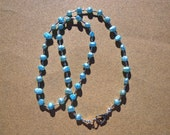 Necklace Freshwater Pearls Dyed Aqua Blue and Silver Plated Beads 21 Inches