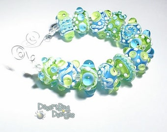 AQUA ZONE Lampwork Beads Handmade Turquoise BLue Green Clear White  Bold and Textured  Set of 12