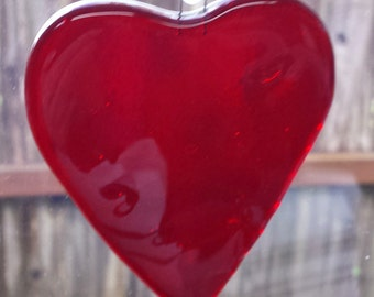 Valentines Day,Stained Glass Heart Suncatcher, Red,Fused Glass, Sun Catcher