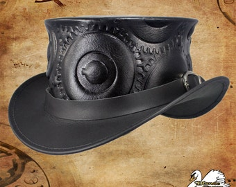 Steampunk Gear Leather Top Hat