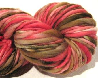 Handspun Yarn, Gingerbread House 114 yards, hand dyed merino wool, red yarn, brown yarn, waldorf doll hair, knitting supplies,crochet