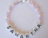 Custom Personalized Baby Name Bracelet Retro Style Hospital Nursery Pink Czech Glass Alphabet Beads Swarovski Pearls Crystals Sterling Clasp