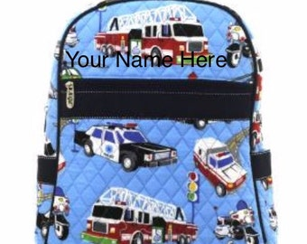 Backpack Monogrammed Blue Quilted with Cars